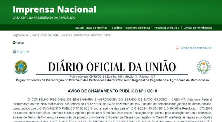 CHAMAMENTO PÚBLICO: Propostas de parcerias podem ser apresentadas até o dia 13 de novembro