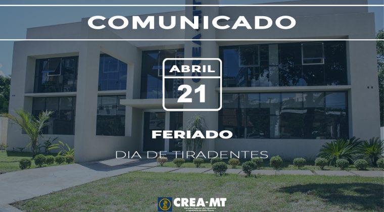 Crea-MT estará fechado quarta-feira (21/04) retornando dia 22 de abril
