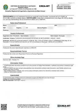 Certidão de Registro de Pessoa Fisica (Modelo Novo)